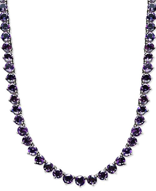 Macy's Sterling Silver Necklace, Amethyst Necklace (30 ct. t.w.)