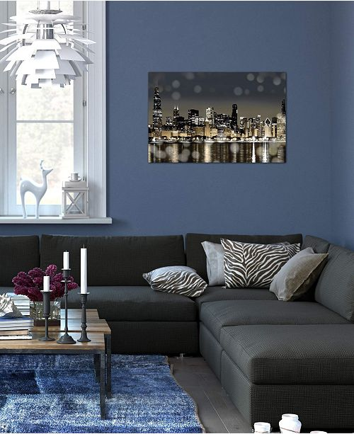 """iCanvas """"Chicago Nights I"""" by Kate Carrigan Gallery-Wrapped Canvas Print"""