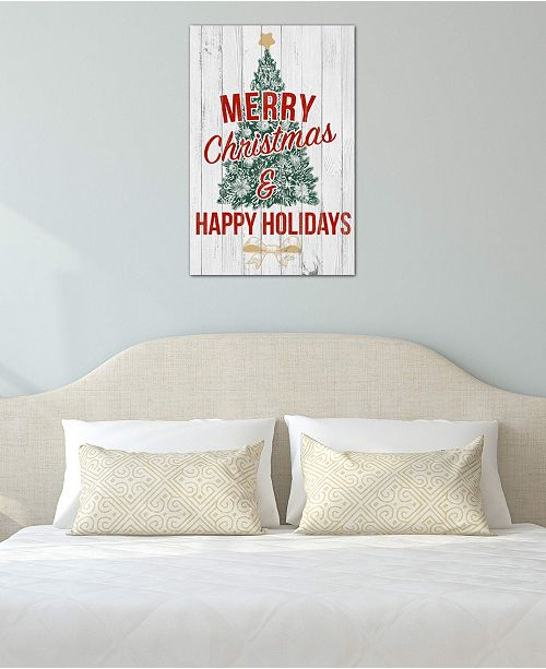 "iCanvas ""Merry Christmas & Happy Holidays"" by 5by5collective Gallery-Wrapped Canvas Print (40 x 26 x 0.75)"