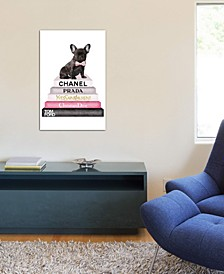 """Bookstack Grey Pink White Black & French Bulldog"" by Amanda Greenwood Gallery-Wrapped Canvas Print (26 x 18 x 0.75)"