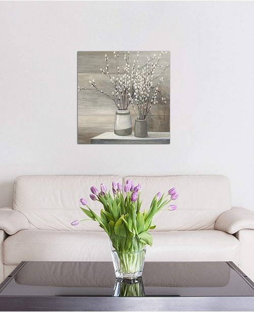 "iCanvas ""Pussy Willow Still Life Gray Pots Crop"" by Julia Purinton Gallery-Wrapped Canvas Print"