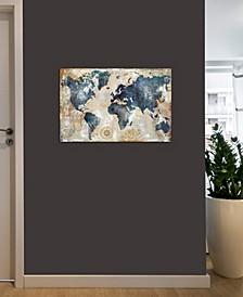 """World Map Indigo"" by Xander Blue Gallery-Wrapped Canvas Print (26 x 40 x 0.75)"
