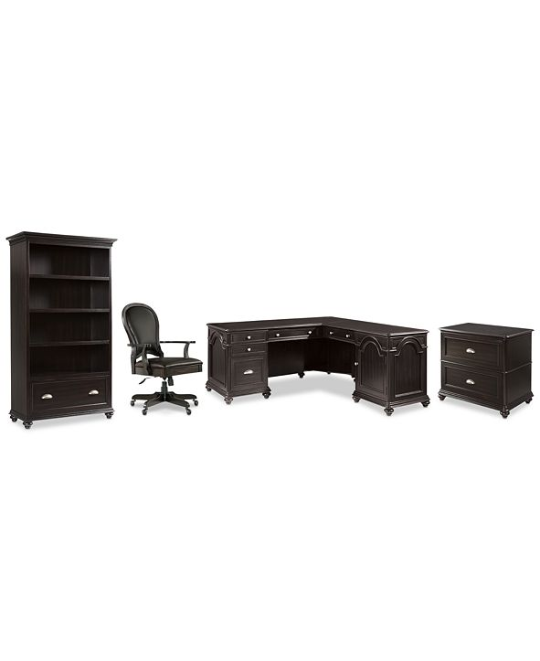 Furniture Clinton Hill Ebony Home Office, 4-Pc. Set (L-Shaped Desk, Lateral File Cabinet, Open Bookcase & Leather Desk Chair), Created for Macy's