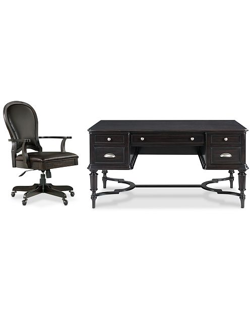 Furniture Clinton Hill Ebony Home Office, 2-Pc. Set (Writing Desk & Leather Desk Chair), Created for Macy's