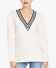 RACHEL Rachel Roy Contrast-Stripe V-Neck Sweatshirt, Created for Macy's