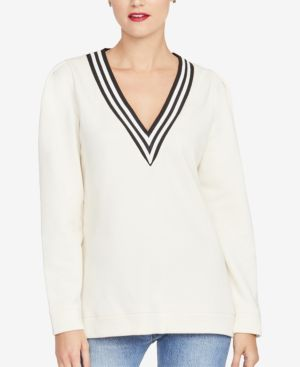 Rachel Rachel Roy Contrast-Stripe V-Neck Sweatshirt, Created for Macy's - Ivory