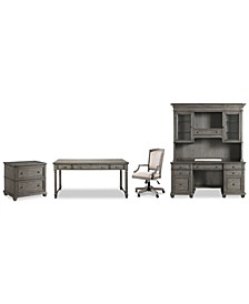 Sloane Home Office, 5-Pc. Set (Writing Desk, Credenza, Hutch, Lateral File Cabinet & Upholstered Desk Chair), Created for Macy's