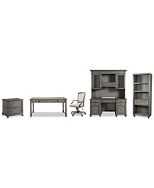 Sloane Home Office, 6-Pc. Set (Writing Desk, Credenza, Hutch, Lateral File Cabinet, Open Bookcase & Upholstered Desk Chair)