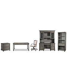 Sloane Home Office, 6-Pc. Set (Writing Desk, Credenza, Hutch, Lateral File Cabinet, Open Bookcase & Upholstered Desk Chair), Created for Macy's