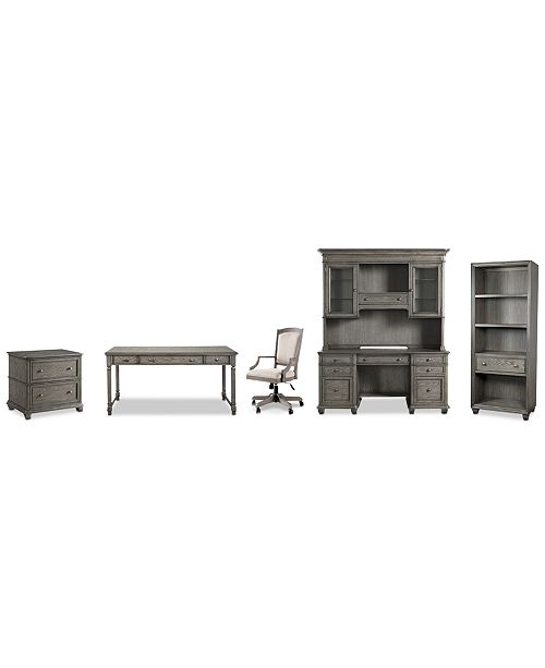 Admirable Sloane Home Office 6 Pc Set Writing Desk Credenza Hutch Lateral File Cabinet Open Bookcase Upholstered Desk Chair Created For Macys Ncnpc Chair Design For Home Ncnpcorg