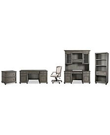 Sloane Home Office, 6-Pc. Set (Executive Desk, Credenza, Hutch, Lateral File Cabinet, Open Bookcase & Upholstered Desk Chair), Created for Macy's
