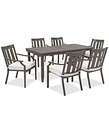 Rialto Outdoor Aluminum 7-Pc. Dining Set (Extension Dining Table And 6 Slat Back Dining Chairs), Created For Macy's