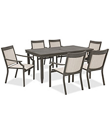 Rialto Outdoor Aluminum 7-Pc. Dining Set (Extension Dining Table And 6 Sling Dining Chairs), Created For Macy's