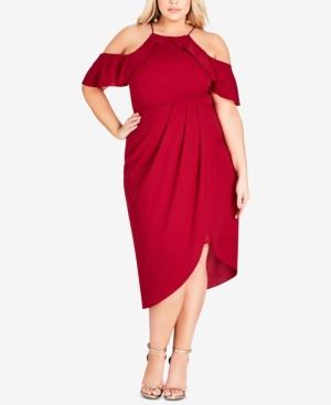 City Chic Dresses PLUS SIZE LOVE SIREN OFF-THE-SHOULDER DRESS