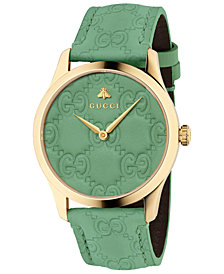 Gucci Unisex Swiss G-Timeless Green GG Signature Leather Strap Watch 38mm