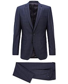 BOSS Men's Slim-Fit Checked Virgin Wool Suit