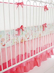 Coral and White Crib Bumper