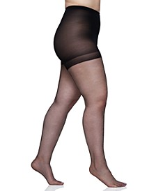 Women's  Queen Plus Size Shimmers Ultra Sheer Control Top Pantyhose 4412