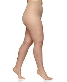 Berkshire Women's  Sheer Queen Plus Size Silky Extra Wear Control Top with Reinforced Toe Hosiery 4489