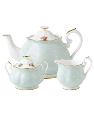 Old Country Roses Polka Rose 3 Piece Tea Set