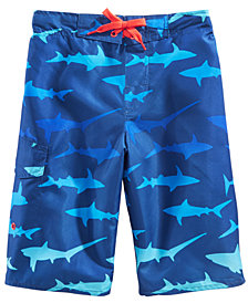 Laguna Big Boys Shark-Print Swim Trunks