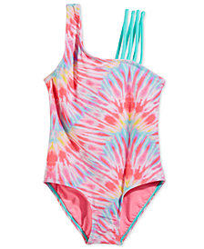 Summer Crush Big Girls 1-Pc. Tie-Dyed Swimsuit