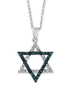 "EFFY® Diamond Star of David 18"" Pendant Necklace (1/5 ct. t.w.) in 14k White Gold"