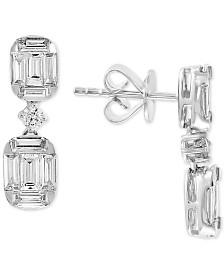 EFFY® Diamond Baguette Drop Earrings (1-1/5 ct. t.w.) in 14k White Gold