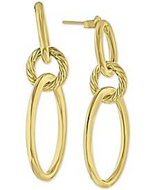 Smooth & Textured Oval Ring Drop Earrings in 14k Gold