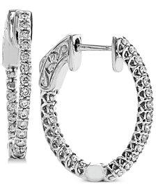 Diamond In & Out Hoop Earrings (1/2 ct. t.w.) in 14k White Gold