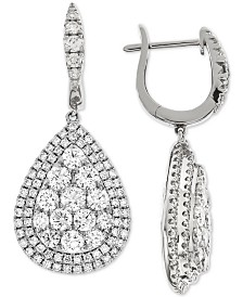 Diamond Teardrop Halo Cluster Drop Earrings (3-1/4 ct. t.w.) in 14k White Gold