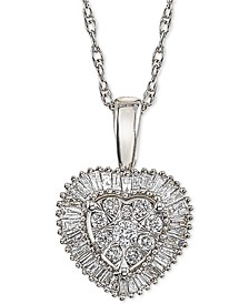 Diamond Halo Cluster Heart Adjustable Pendant Necklace (1/3 ct. t.w.) in 14k White Gold