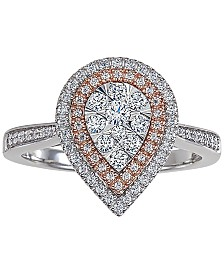 Diamond Two-Tone Teardrop Cluster Ring (1/2 ct. t.w.) in 14k White & Rose Gold