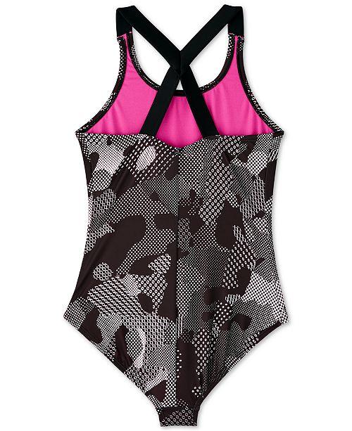 1b44ce8c17f48 Nike Big Girls 1-Pc. Optic Camo Crossback Swimsuit & Reviews ...