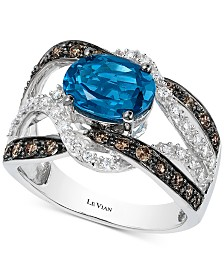 Le Vian® London Blue Topaz (2 ct. t.w.) & Diamond (5/8 ct. t.w.) Statement Ring in 14k White Gold