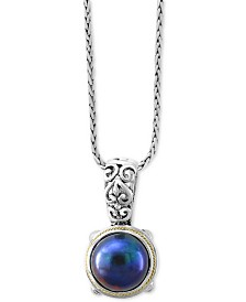 "EFFY® Dyed Cultured Freshwater Pearl (12mm) 18"" Pendant Necklace in Sterling Silver & 18k Gold Over Silver"