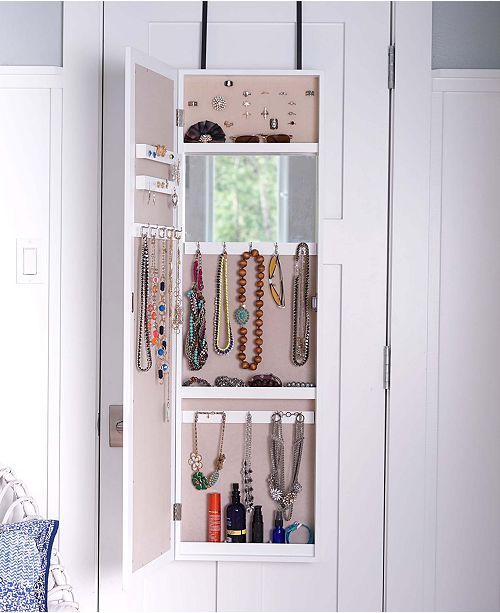 HIVES AND HONEY Over The Door Jewelry Organizer with Mirror