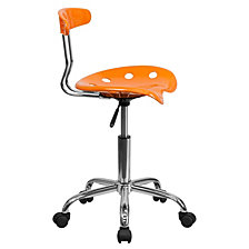 Vibrant Orange And Chrome Swivel Task Chair With Tractor Seat