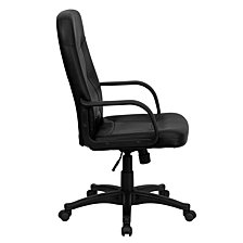 High Back Black Glove Vinyl Executive Swivel Chair With Arms