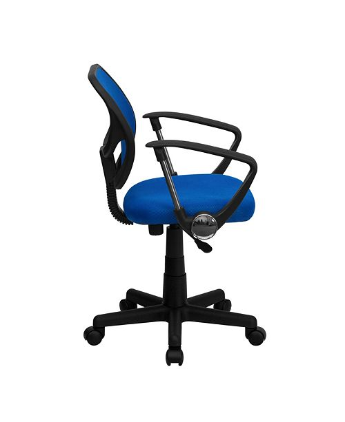 Flash Furniture Mid-Back Blue Mesh Swivel Task Chair With Arms
