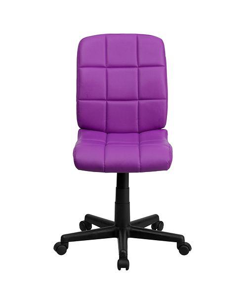 Flash Furniture Mid-Back Purple Quilted Vinyl Swivel Task ...