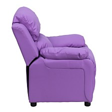 Deluxe Padded Contemporary Lavender Vinyl Kids Recliner With Storage Arms
