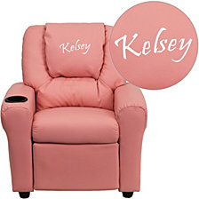 Personalized Pink Vinyl Kids Recliner With Cup Holder And Headrest