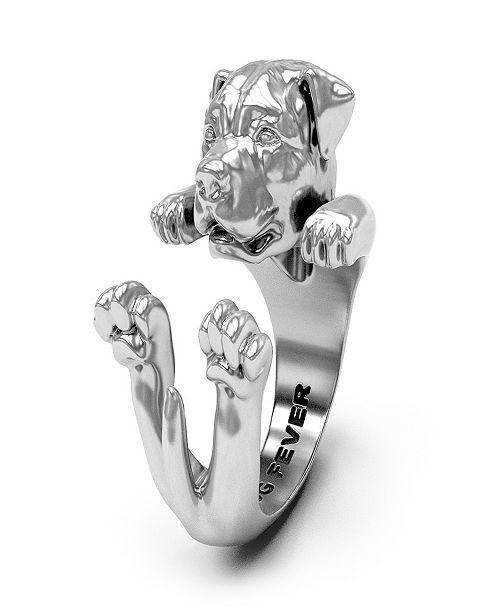 Dog Fever Rottweiler Hug Ring in Sterling Silver