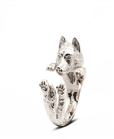 Siberian Husky Hug Ring in Sterling Silver