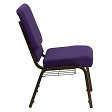 Hercules Series 18.5''W Church Chair In Royal Purple Fabric With Cup Book Rack - Gold Vein Frame