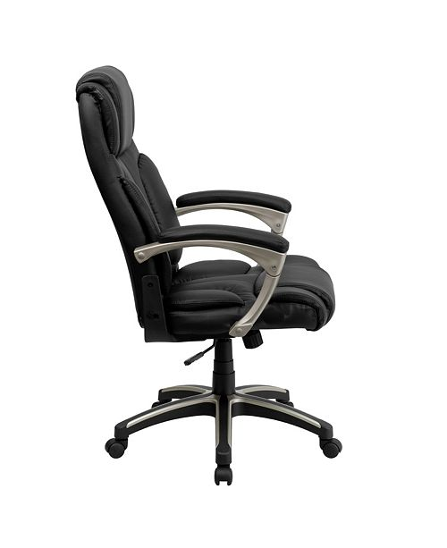 Brilliant High Back Folding Black Leather Executive Swivel Chair With Arms Camellatalisay Diy Chair Ideas Camellatalisaycom
