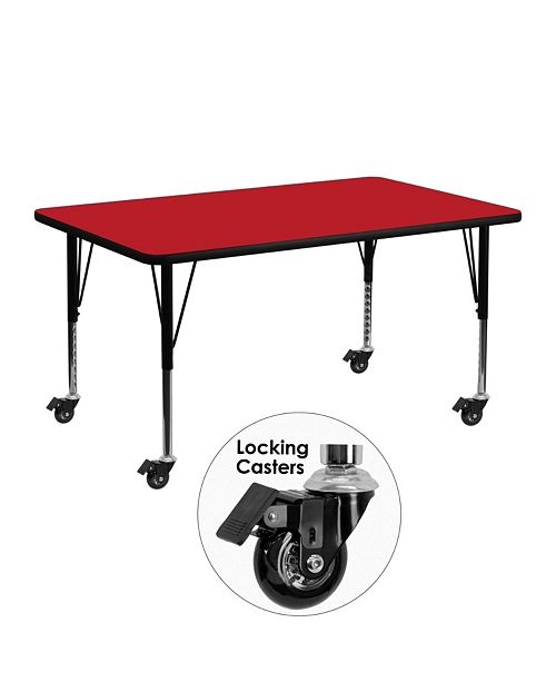 Flash Furniture Mobile 24''W X 48''L Rectangular Red Hp Laminate Activity Table - Height Adjustable Short Legs