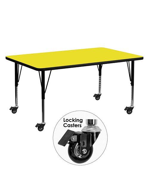 Flash Furniture Mobile 24''W X 60''L Rectangular Yellow Hp Laminate Activity Table - Height Adjustable Short Legs
