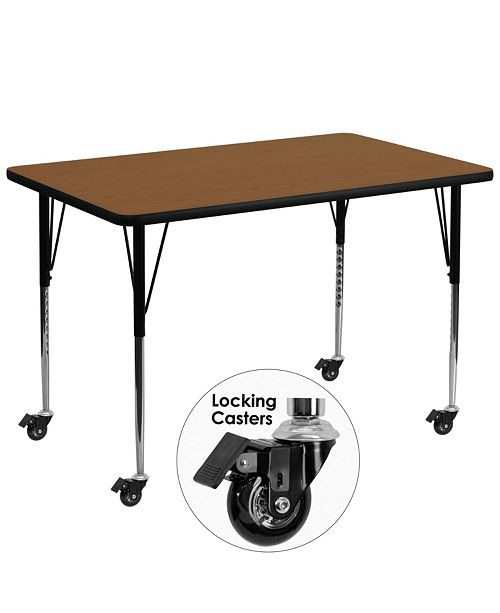 Flash Furniture Mobile 36''W X 72''L Rectangular Oak Hp Laminate Activity Table - Standard Height Adjustable Legs